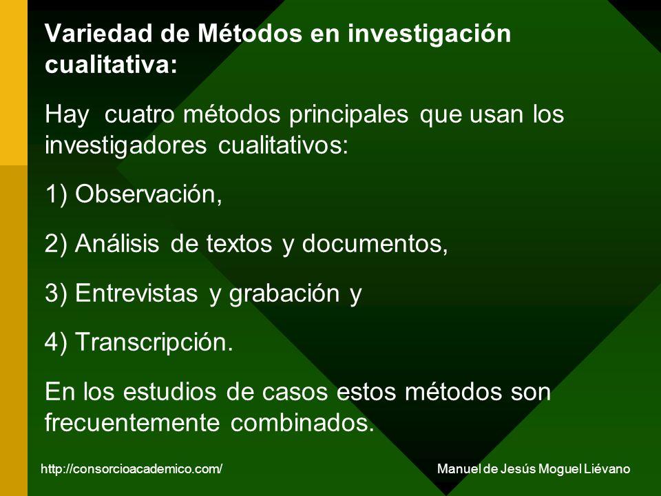 Variedad de Métodos en investigación cualitativa: Hay cuatro métodos principales que usan los investigadores cualitativos: 1) Observación, 2) Análisis