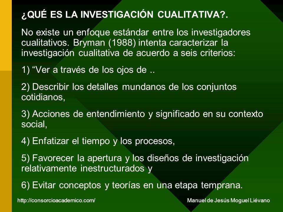 ¿QUÉ ES LA INVESTIGACIÓN CUALITATIVA?. No existe un enfoque estándar entre los investigadores cualitativos. Bryman (1988) intenta caracterizar la inve