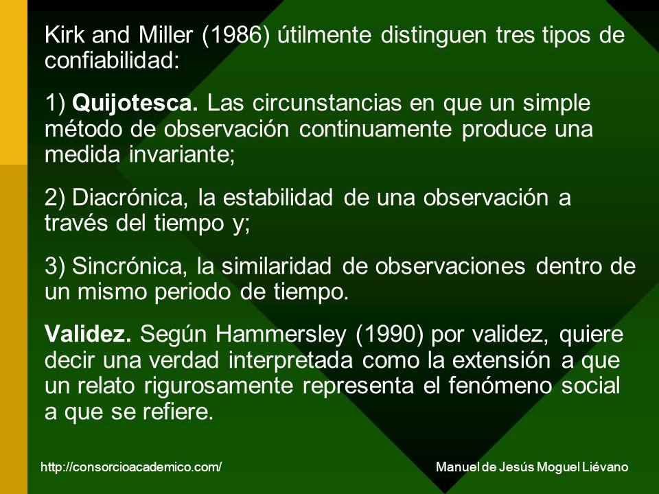 Kirk and Miller (1986) útilmente distinguen tres tipos de confiabilidad: 1) Quijotesca. Las circunstancias en que un simple método de observación cont