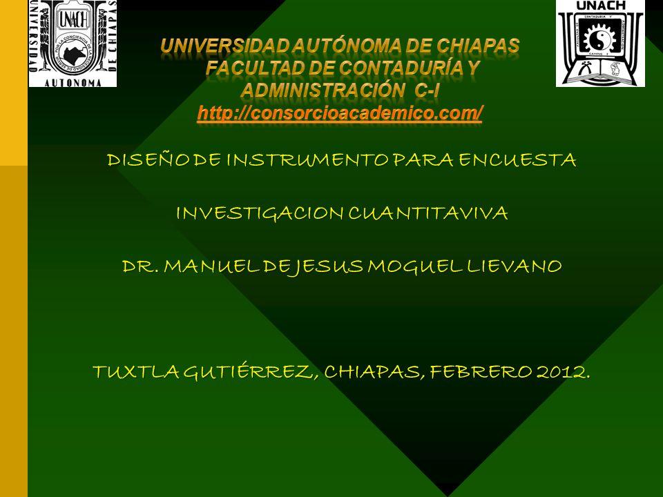 DISEÑO DE INSTRUMENTO PARA ENCUESTA INVESTIGACION CUANTITAVIVA DR.