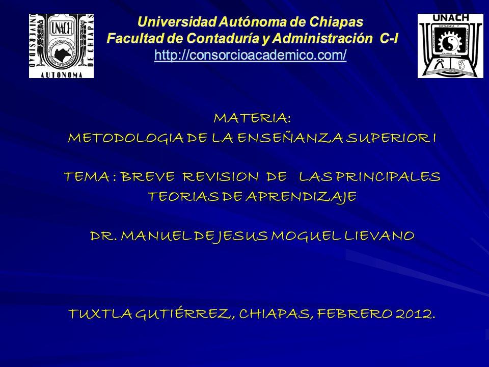 MATERIA: METODOLOGIA DE LA ENSEÑANZA SUPERIOR I TEMA : BREVE REVISION DE LAS PRINCIPALES TEORIAS DE APRENDIZAJE DR. MANUEL DE JESUS MOGUEL LIEVANO TUX