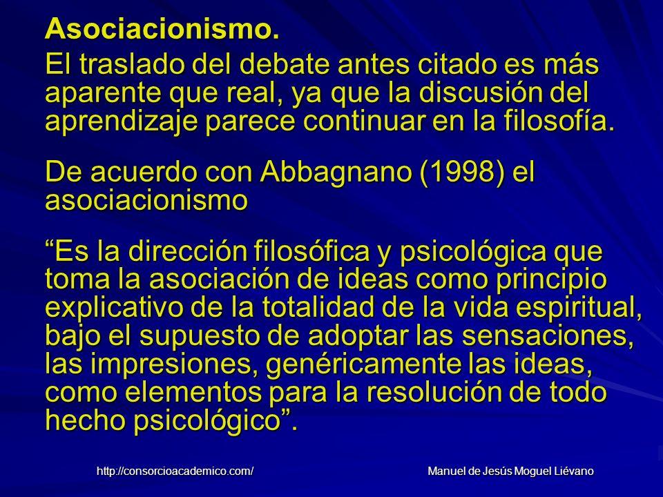 Asociacionismo. El traslado del debate antes citado es más aparente que real, ya que la discusión del aprendizaje parece continuar en la filosofía. De