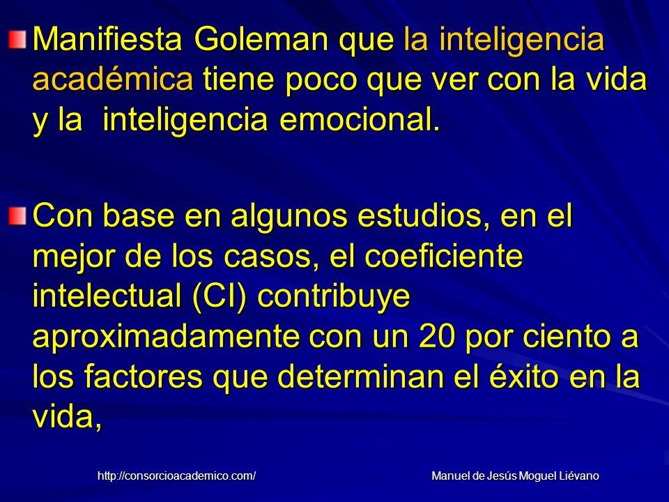 Manifiesta Goleman que la inteligencia académica tiene poco que ver con la vida y la inteligencia emocional. Con base en algunos estudios, en el mejor