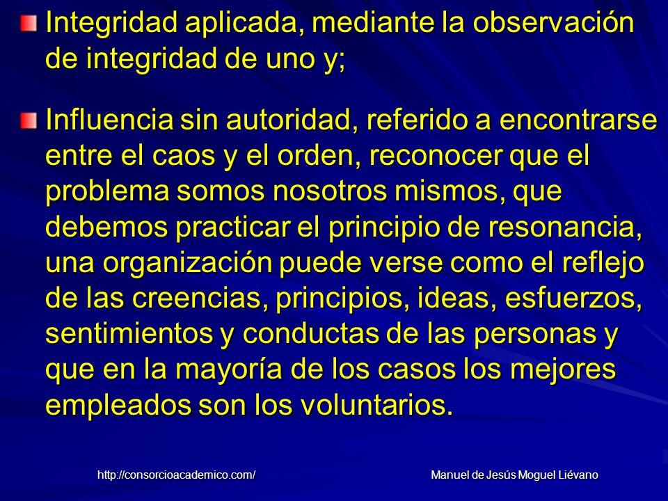 Integridad aplicada, mediante la observación de integridad de uno y; Influencia sin autoridad, referido a encontrarse entre el caos y el orden, recono