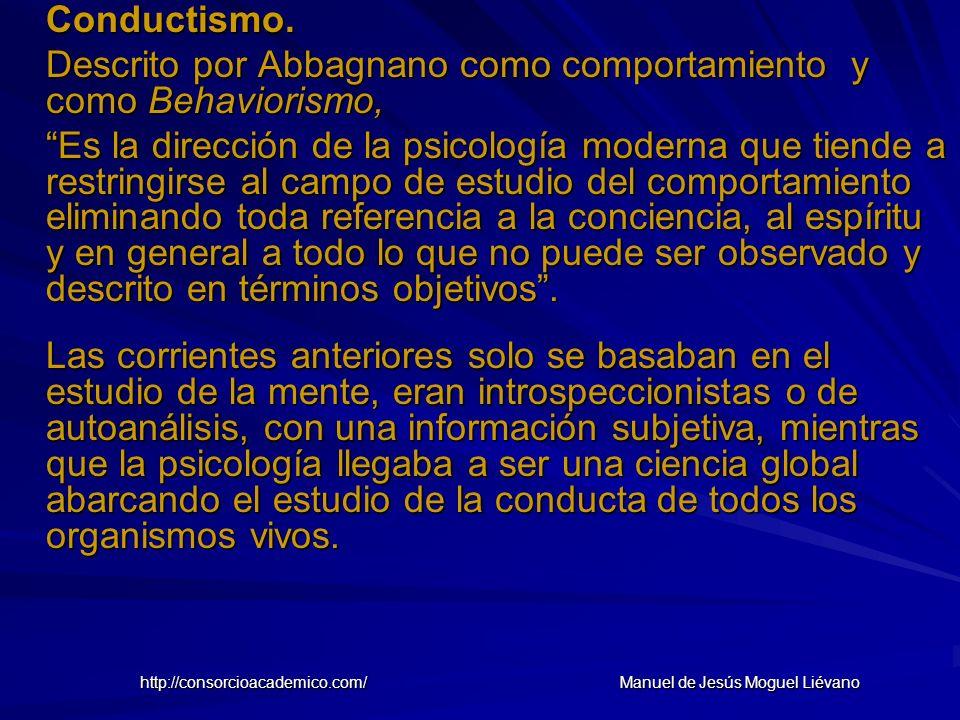 Conductismo. Descrito por Abbagnano como comportamiento y como Behaviorismo, Es la dirección de la psicología moderna que tiende a restringirse al cam