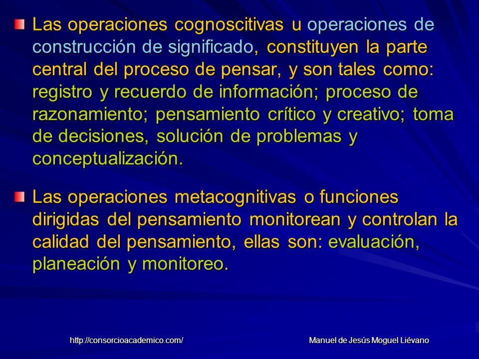 Las operaciones cognoscitivas u operaciones de construcción de significado, constituyen la parte central del proceso de pensar, y son tales como: regi
