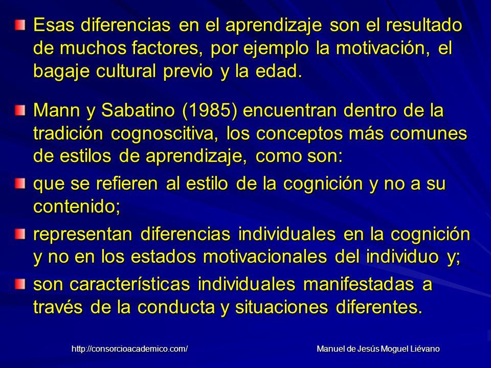 Esas diferencias en el aprendizaje son el resultado de muchos factores, por ejemplo la motivación, el bagaje cultural previo y la edad. Mann y Sabatin