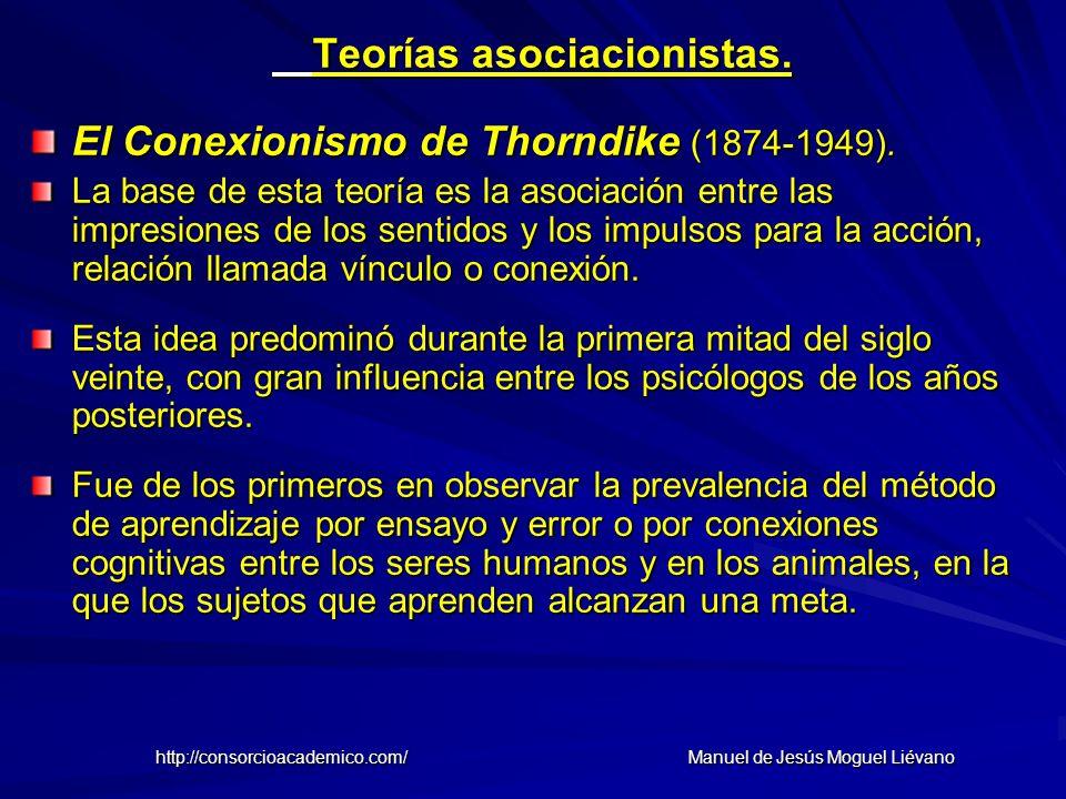 Teorías asociacionistas. El Conexionismo de Thorndike (1874-1949). La base de esta teoría es la asociación entre las impresiones de los sentidos y los