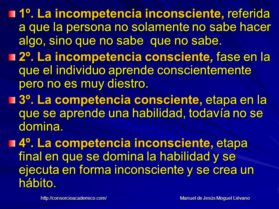 1º. La incompetencia inconsciente, referida a que la persona no solamente no sabe hacer algo, sino que no sabe que no sabe. 2º. La incompetencia consc