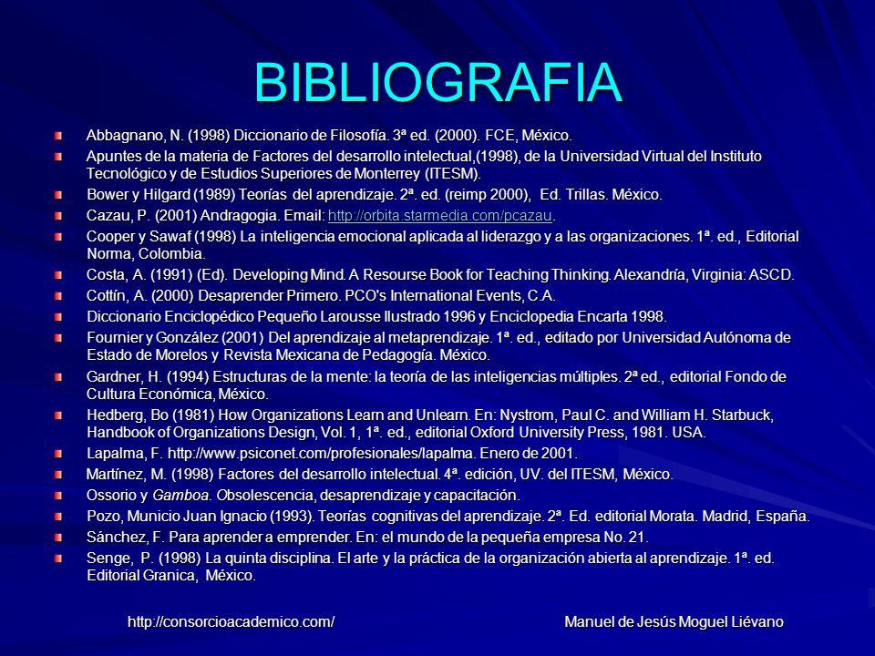 BIBLIOGRAFIA Abbagnano, N. (1998) Diccionario de Filosofía. 3ª ed. (2000). FCE, México. Apuntes de la materia de Factores del desarrollo intelectual,(