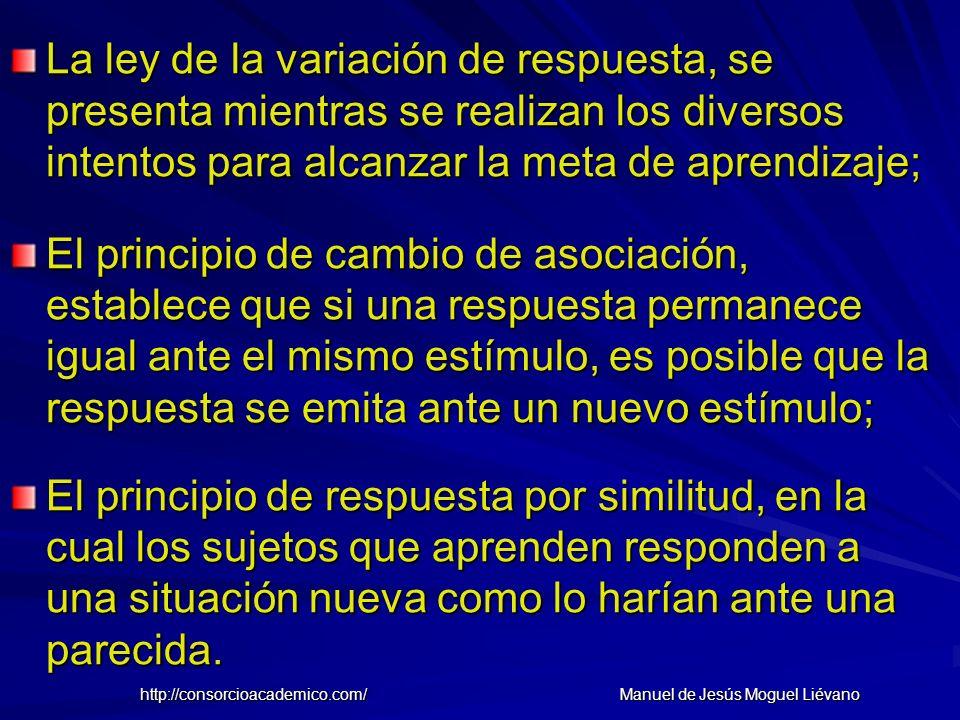 La ley de la variación de respuesta, se presenta mientras se realizan los diversos intentos para alcanzar la meta de aprendizaje; El principio de camb