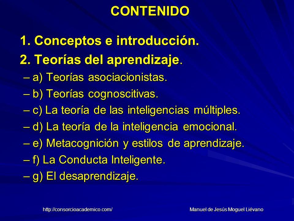 CONTENIDO 1. Conceptos e introducción. 2. Teorías del aprendizaje. –a) Teorías asociacionistas. –b) Teorías cognoscitivas. –c) La teoría de las inteli