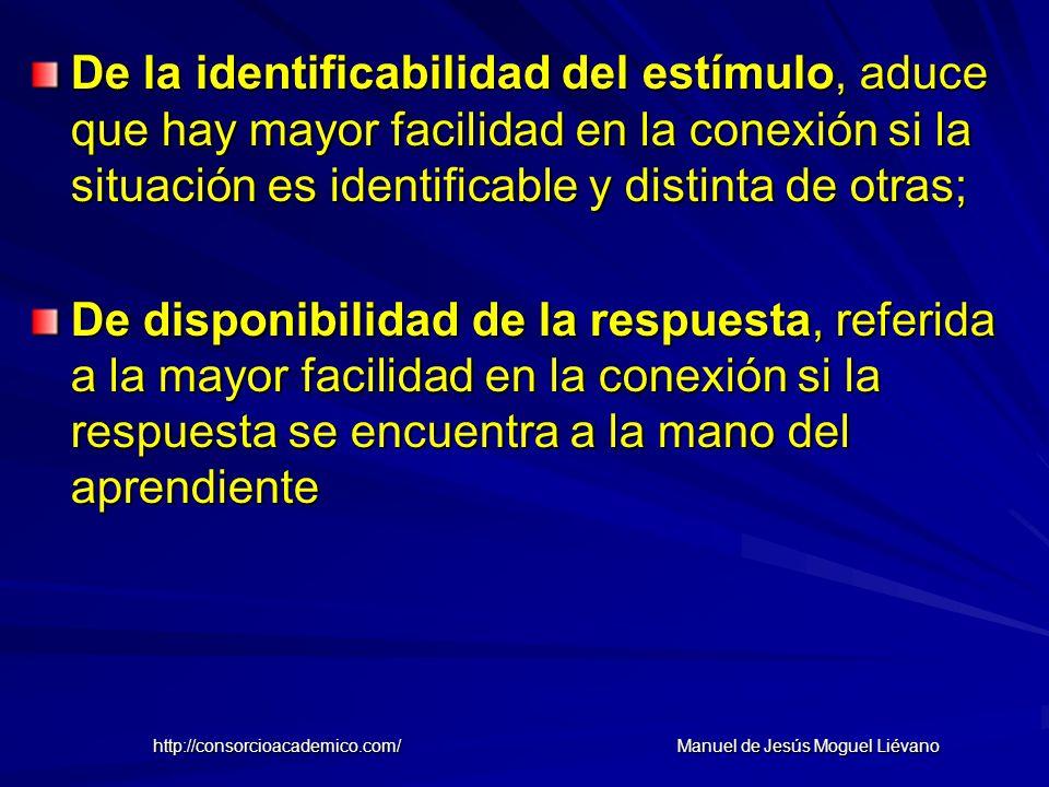 De la identificabilidad del estímulo, aduce que hay mayor facilidad en la conexión si la situación es identificable y distinta de otras; De disponibil