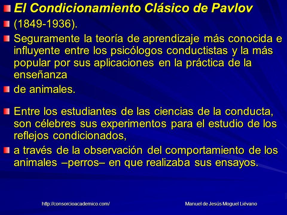 El Condicionamiento Clásico de Pavlov (1849-1936). Seguramente la teoría de aprendizaje más conocida e influyente entre los psicólogos conductistas y