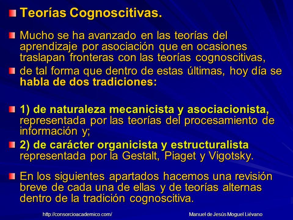 Teorías Cognoscitivas. Mucho se ha avanzado en las teorías del aprendizaje por asociación que en ocasiones traslapan fronteras con las teorías cognosc