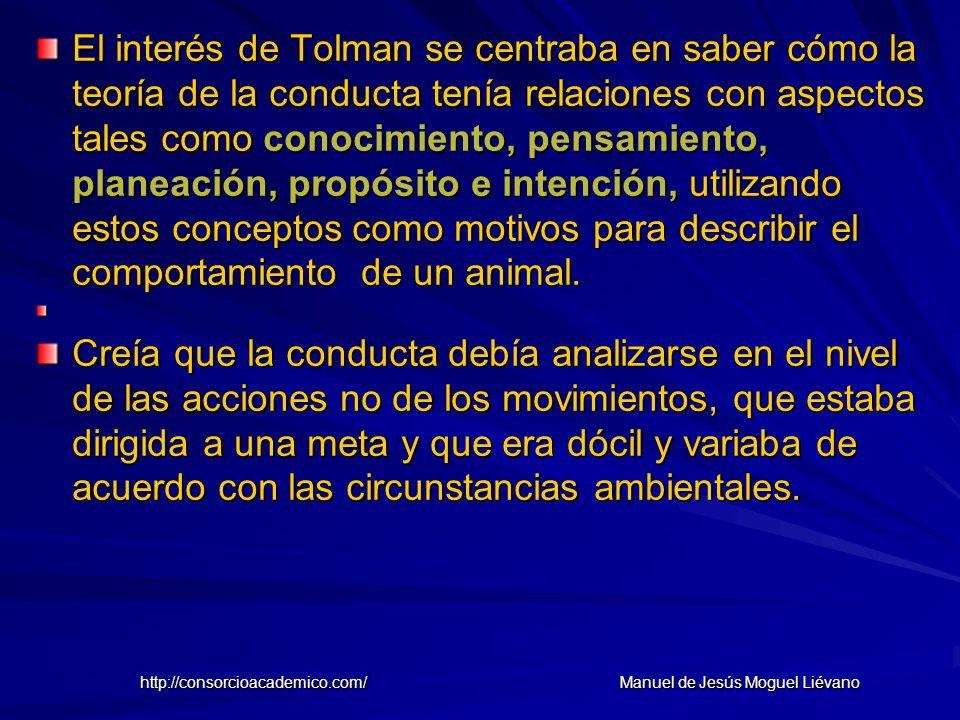 El interés de Tolman se centraba en saber cómo la teoría de la conducta tenía relaciones con aspectos tales como conocimiento, pensamiento, planeación