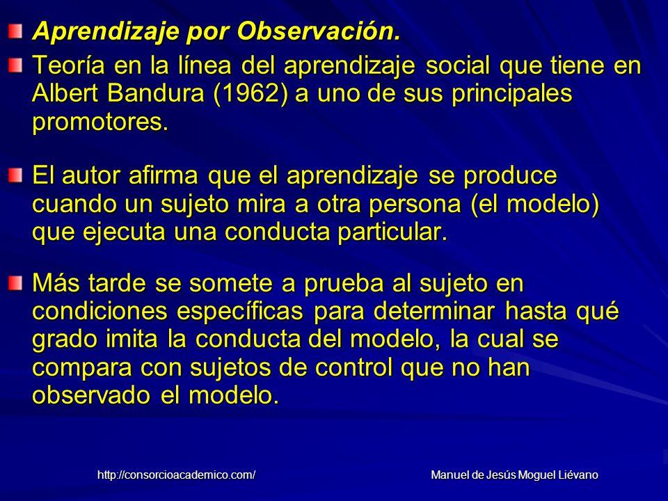 Aprendizaje por Observación. Teoría en la línea del aprendizaje social que tiene en Albert Bandura (1962) a uno de sus principales promotores. El auto