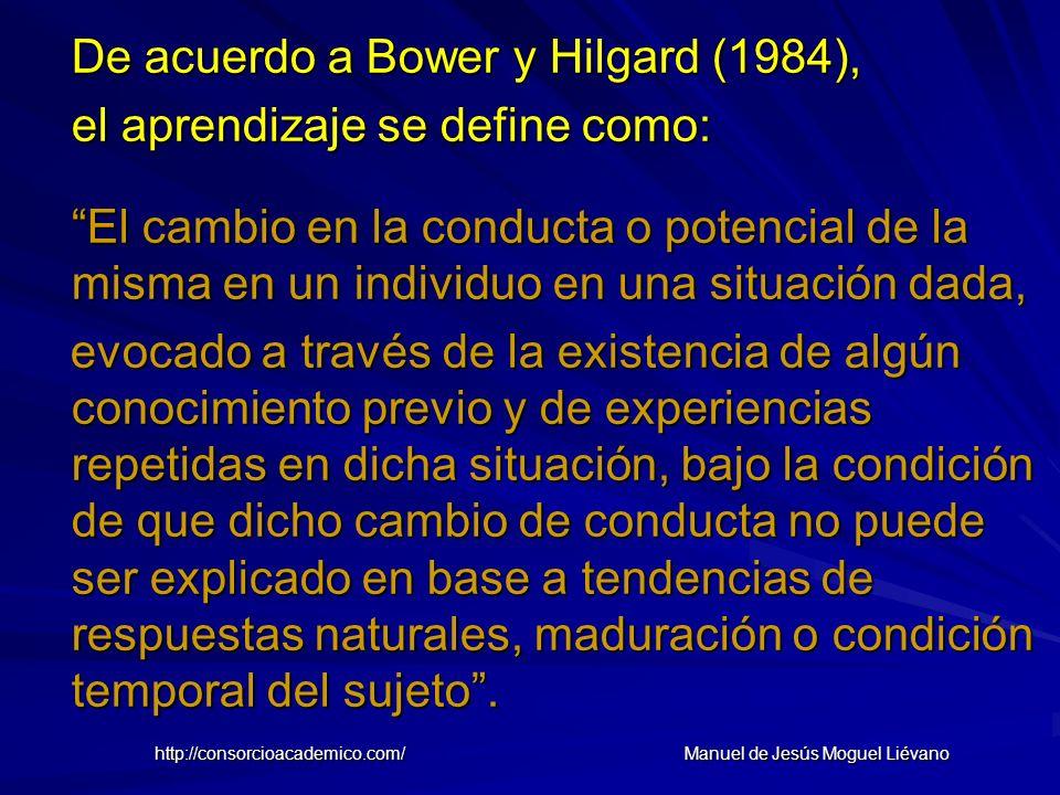 De acuerdo a Bower y Hilgard (1984), el aprendizaje se define como: El cambio en la conducta o potencial de la misma en un individuo en una situación