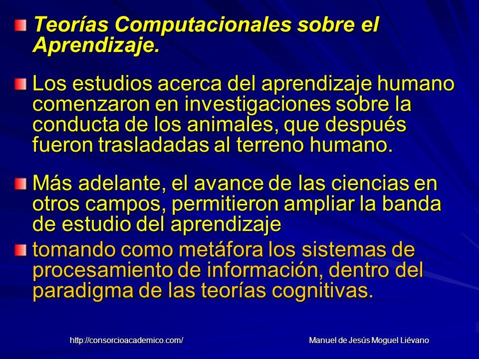 Teorías Computacionales sobre el Aprendizaje. Los estudios acerca del aprendizaje humano comenzaron en investigaciones sobre la conducta de los animal