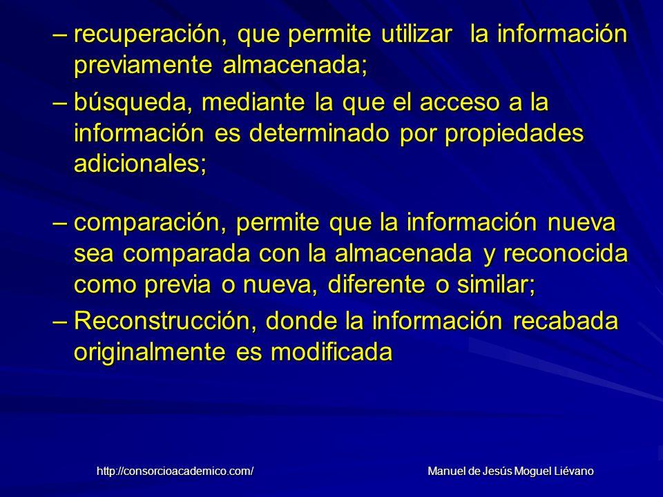 –recuperación, que permite utilizar la información previamente almacenada; –búsqueda, mediante la que el acceso a la información es determinado por pr