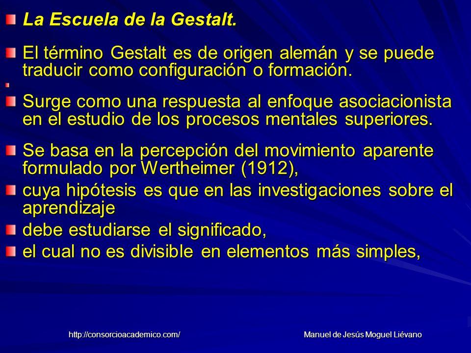La Escuela de la Gestalt. El término Gestalt es de origen alemán y se puede traducir como configuración o formación. Surge como una respuesta al enfoq