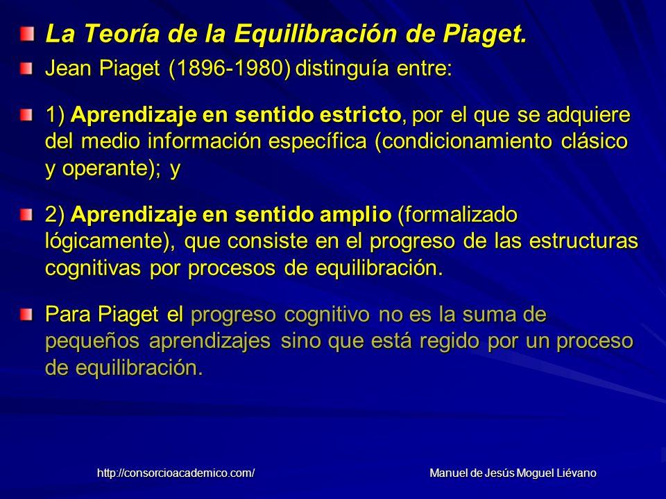 La Teoría de la Equilibración de Piaget. Jean Piaget (1896-1980) distinguía entre: 1) Aprendizaje en sentido estricto, por el que se adquiere del medi