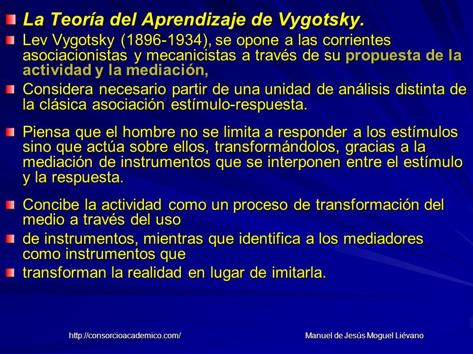 La Teoría del Aprendizaje de Vygotsky. Lev Vygotsky (1896-1934), se opone a las corrientes asociacionistas y mecanicistas a través de su propuesta de
