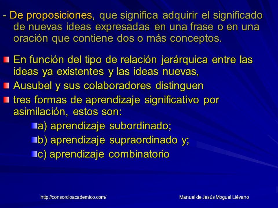 - De proposiciones, que significa adquirir el significado de nuevas ideas expresadas en una frase o en una oración que contiene dos o más conceptos. E