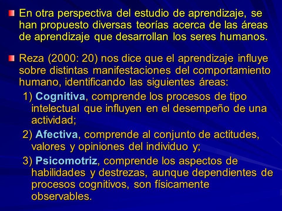 En otra perspectiva del estudio de aprendizaje, se han propuesto diversas teorías acerca de las áreas de aprendizaje que desarrollan los seres humanos