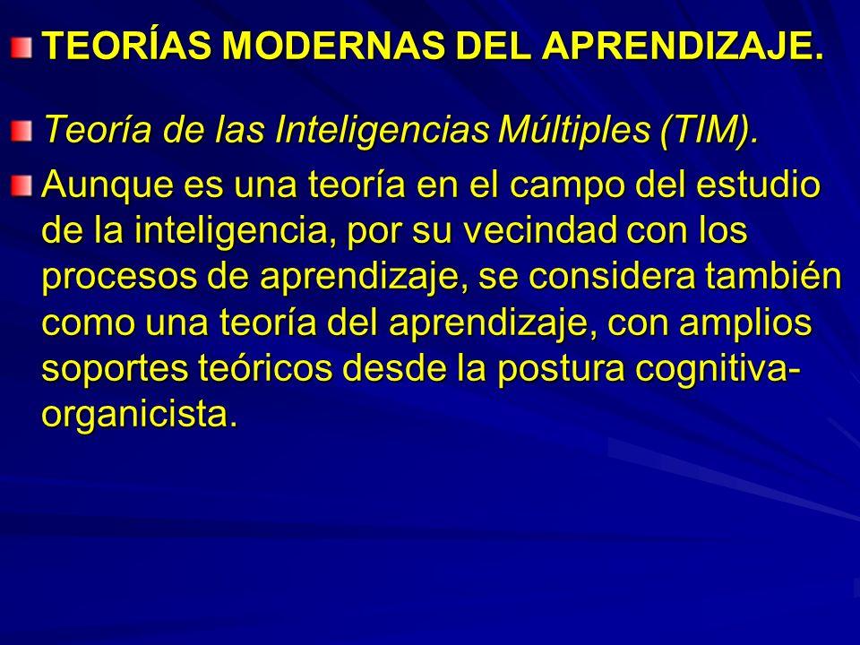 TEORÍAS MODERNAS DEL APRENDIZAJE. Teoría de las Inteligencias Múltiples (TIM). Aunque es una teoría en el campo del estudio de la inteligencia, por su