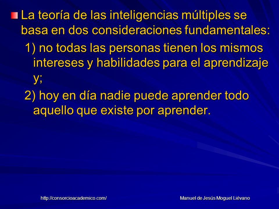 La teoría de las inteligencias múltiples se basa en dos consideraciones fundamentales: 1) no todas las personas tienen los mismos intereses y habilida