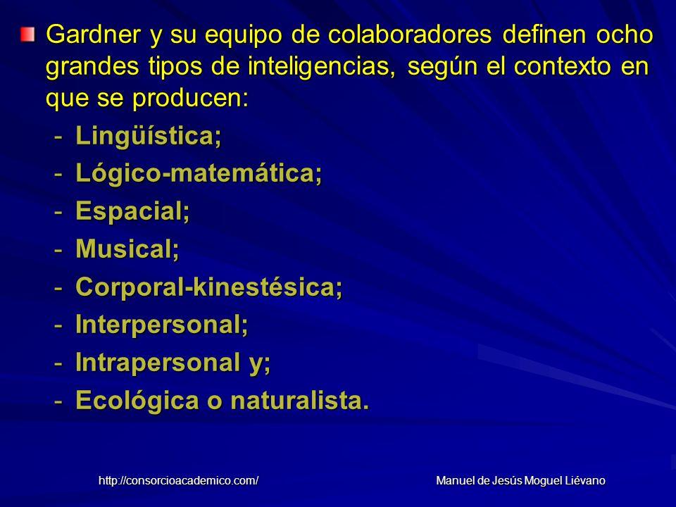 Gardner y su equipo de colaboradores definen ocho grandes tipos de inteligencias, según el contexto en que se producen: -Lingüística; -Lógico-matemáti