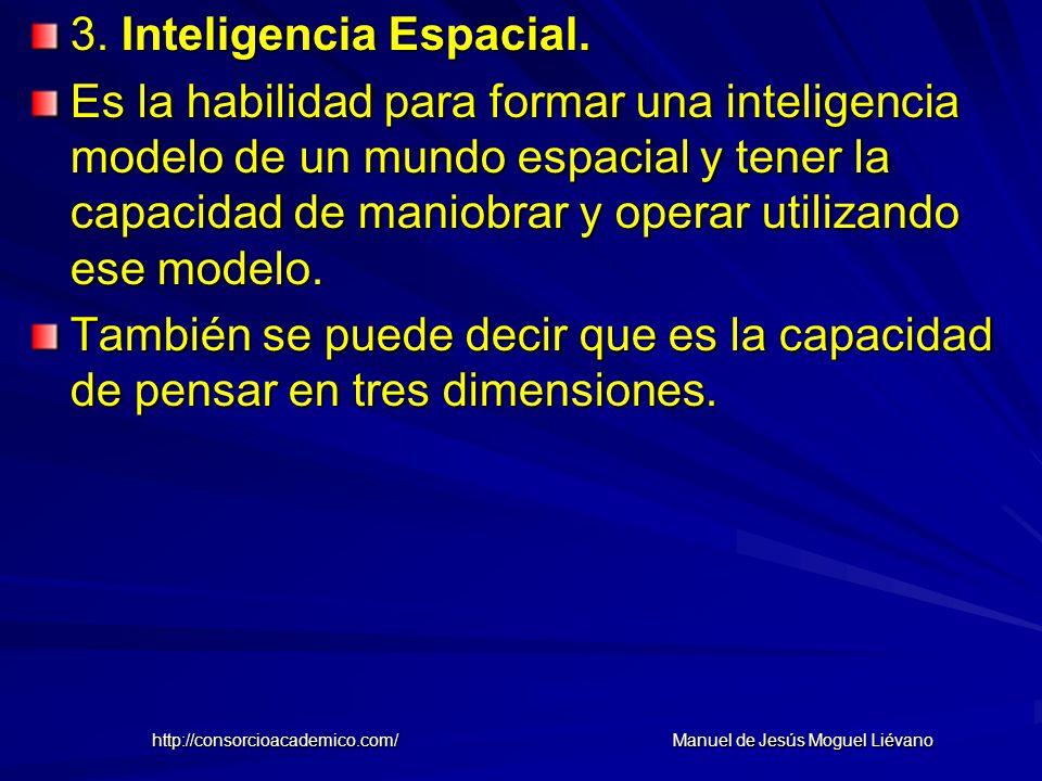 3. Inteligencia Espacial. Es la habilidad para formar una inteligencia modelo de un mundo espacial y tener la capacidad de maniobrar y operar utilizan