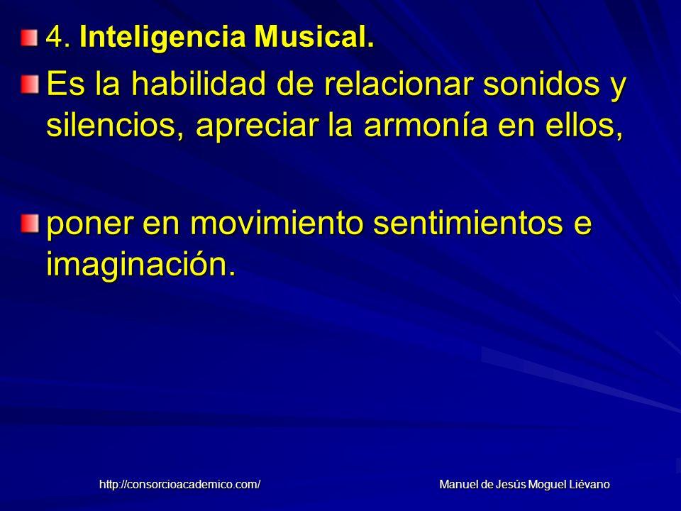 4. Inteligencia Musical. Es la habilidad de relacionar sonidos y silencios, apreciar la armonía en ellos, poner en movimiento sentimientos e imaginaci