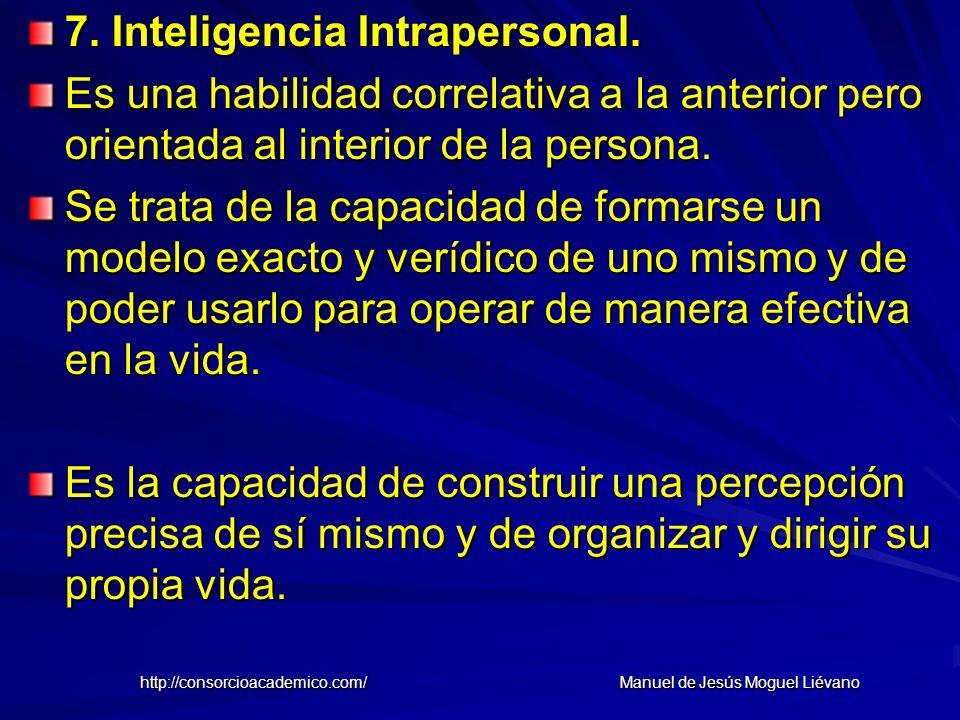 7. Inteligencia Intrapersonal. Es una habilidad correlativa a la anterior pero orientada al interior de la persona. Se trata de la capacidad de formar