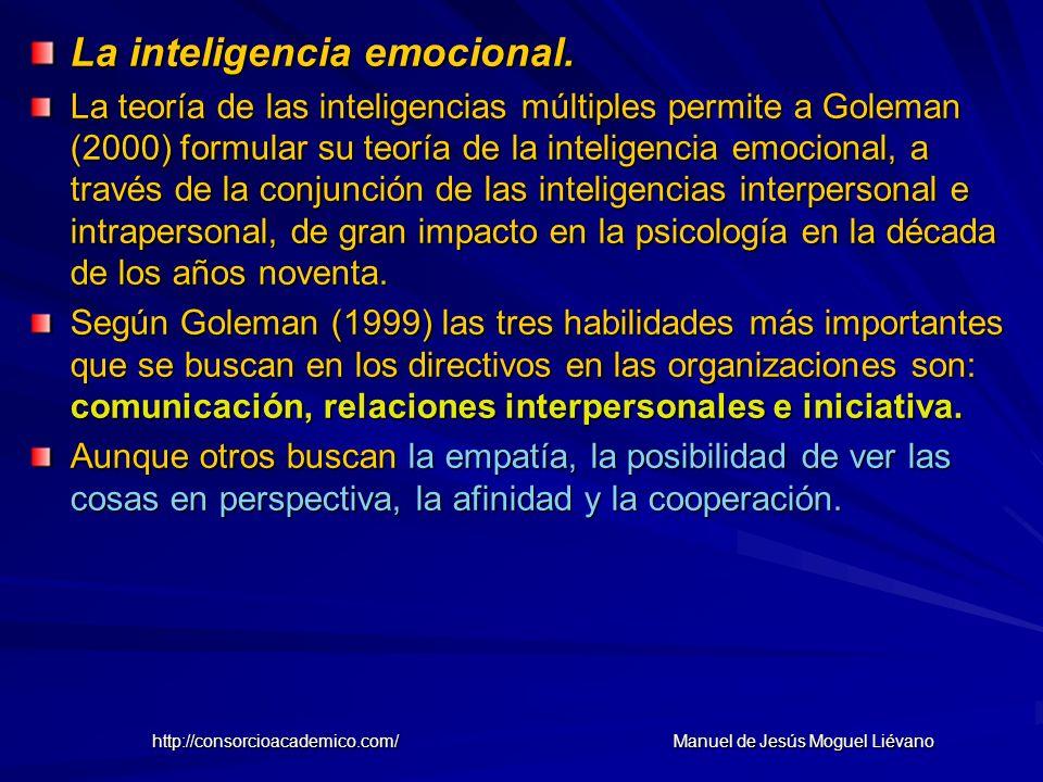 La inteligencia emocional. La teoría de las inteligencias múltiples permite a Goleman (2000) formular su teoría de la inteligencia emocional, a través