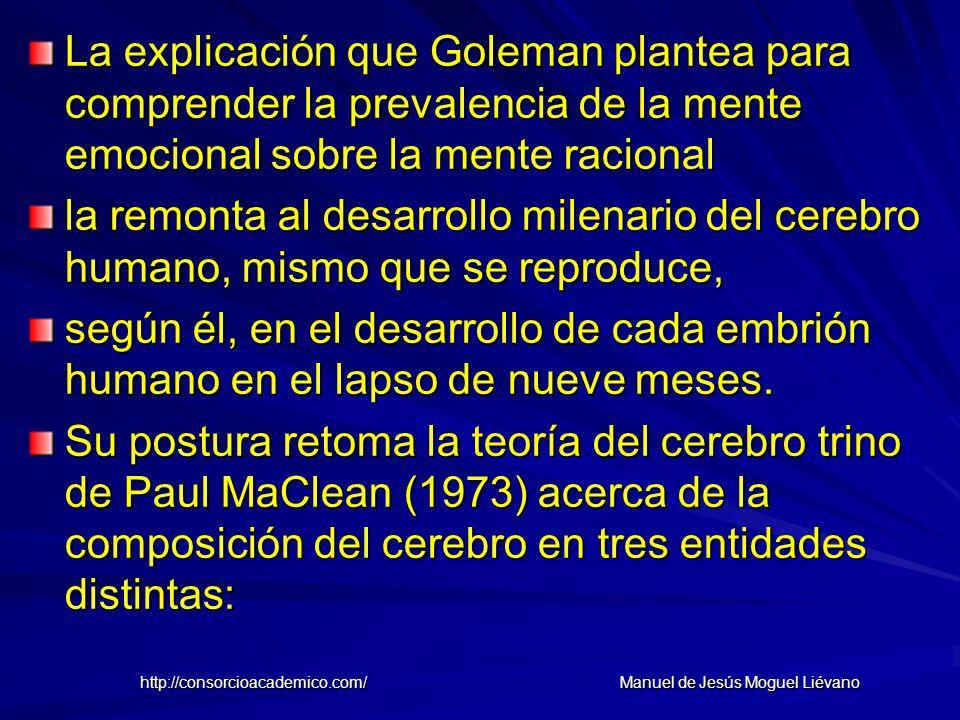 La explicación que Goleman plantea para comprender la prevalencia de la mente emocional sobre la mente racional la remonta al desarrollo milenario del