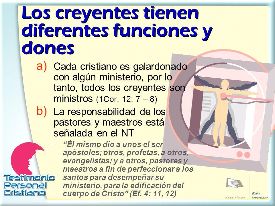 Los creyentes tienen diferentes funciones y dones a) Cada cristiano es galardonado con algún ministerio, por lo tanto, todos los creyentes son ministr
