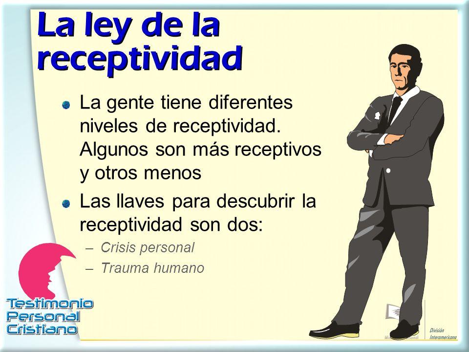 La ley de la receptividad La ley de la receptividad La gente tiene diferentes niveles de receptividad. Algunos son más receptivos y otros menos Las ll