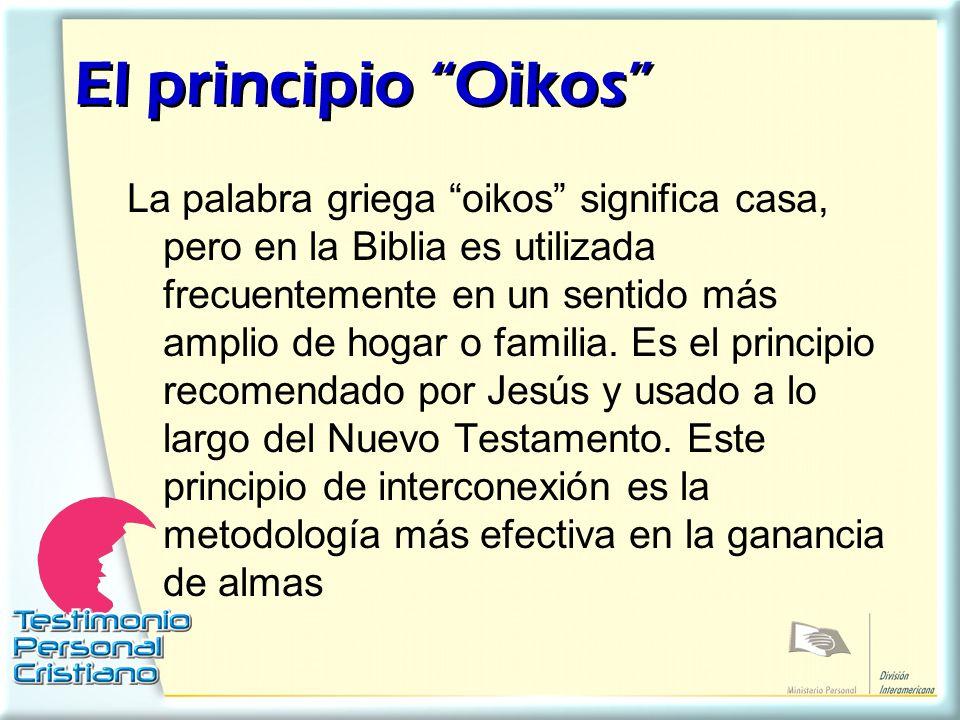 El principio Oikos El principio Oikos La palabra griega oikos significa casa, pero en la Biblia es utilizada frecuentemente en un sentido más amplio d