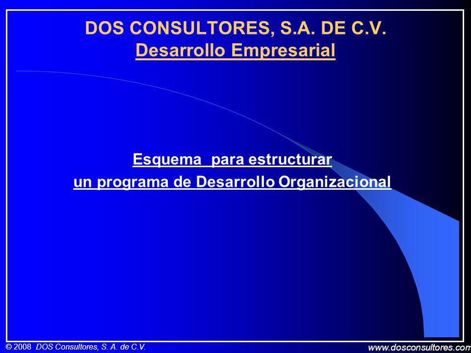 www.dosconsultores.com © 2008 DOS Consultores, S. A. de C.V. DOS CONSULTORES, S.A. DE C.V. Desarrollo Empresarial Esquema para estructurar un programa