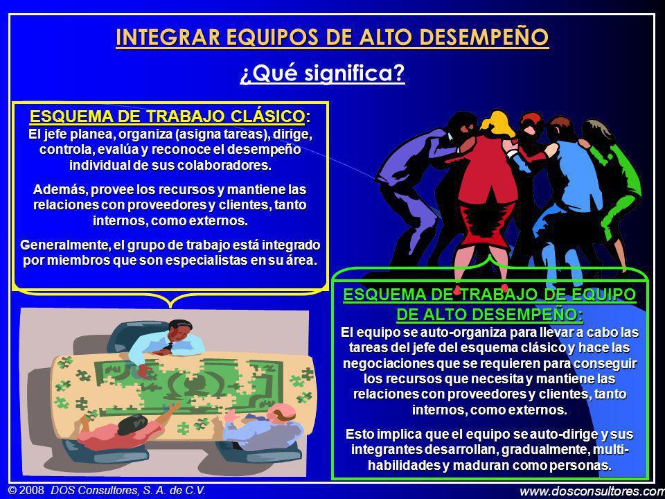 www.dosconsultores.com © 2008 DOS Consultores, S. A. de C.V. INTEGRAR EQUIPOS DE ALTO DESEMPEÑO ¿Qué significa? ESQUEMA DE TRABAJO CLÁSICO: El jefe pl