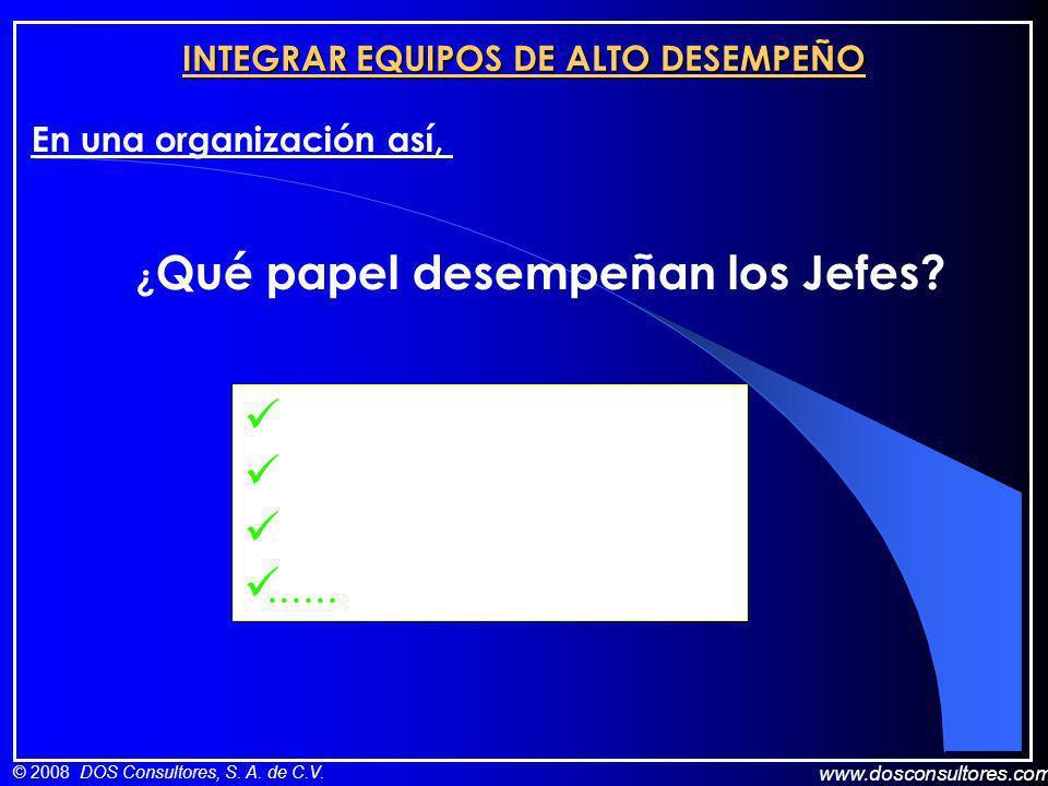 www.dosconsultores.com © 2008 DOS Consultores, S. A. de C.V. INTEGRAR EQUIPOS DE ALTO DESEMPEÑO En una organización así, ¿ Qué papel desempeñan los Je