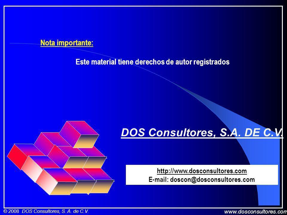 www.dosconsultores.com © 2008 DOS Consultores, S. A. de C.V. DOS Consultores, S.A. DE C.V. http://www.dosconsultores.com E-mail: doscon@dosconsultores