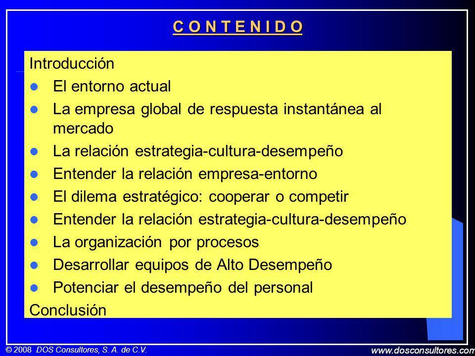 www.dosconsultores.com © 2008 DOS Consultores, S. A. de C.V. C O N T E N I D O Introducción El entorno actual La empresa global de respuesta instantán