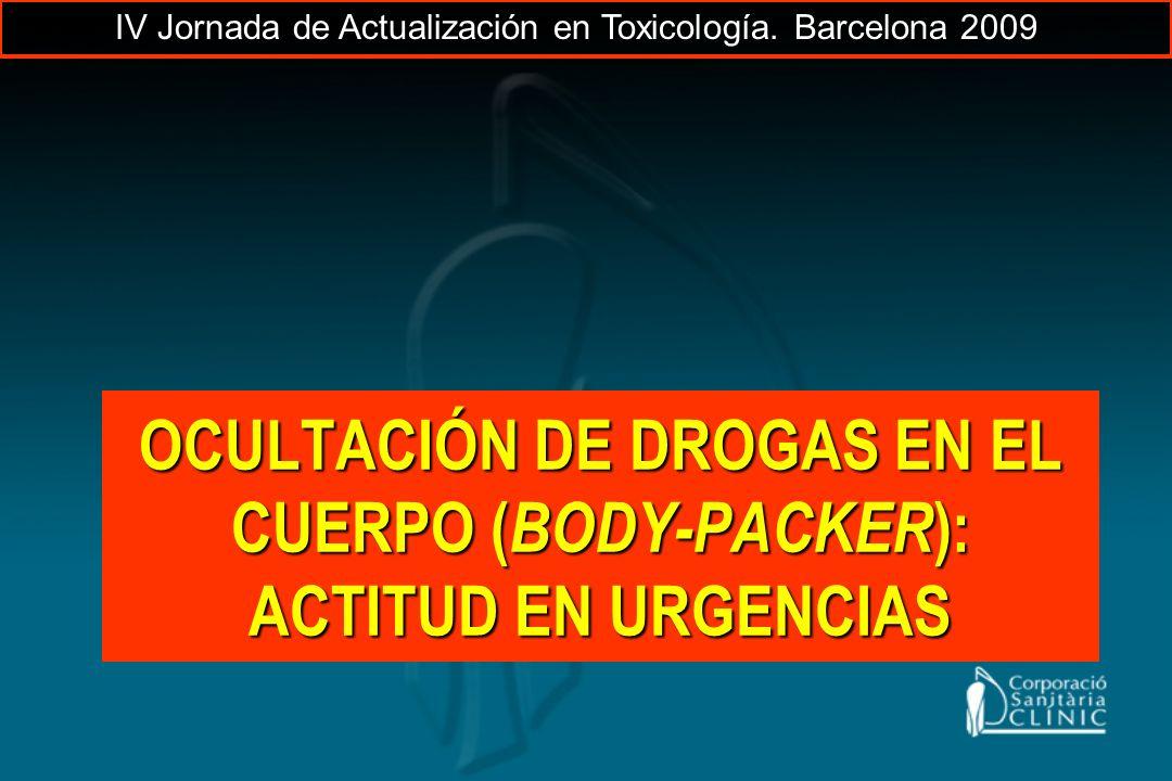 OCULTACIÓN DE DROGAS EN EL CUERPO ( BODY-PACKER ): ACTITUD EN URGENCIAS IV Jornada de Actualización en Toxicología. Barcelona 2009
