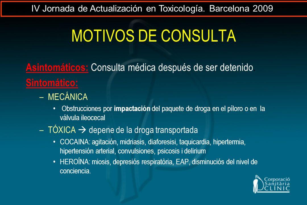 MOTIVOS DE CONSULTA Asintomáticos: Consulta médica después de ser detenido. Sintomático: –MECÁNICA Obstrucciones por impactación del paquete de droga