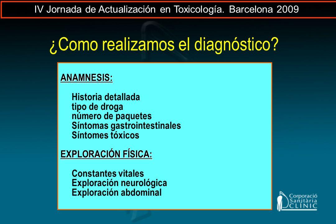 ANAMNESIS: Historia detallada tipo de droga número de paquetes Síntomas gastrointestinales Síntomes tóxicos EXPLORACIÓN FÍSICA: Constantes vitales Exp