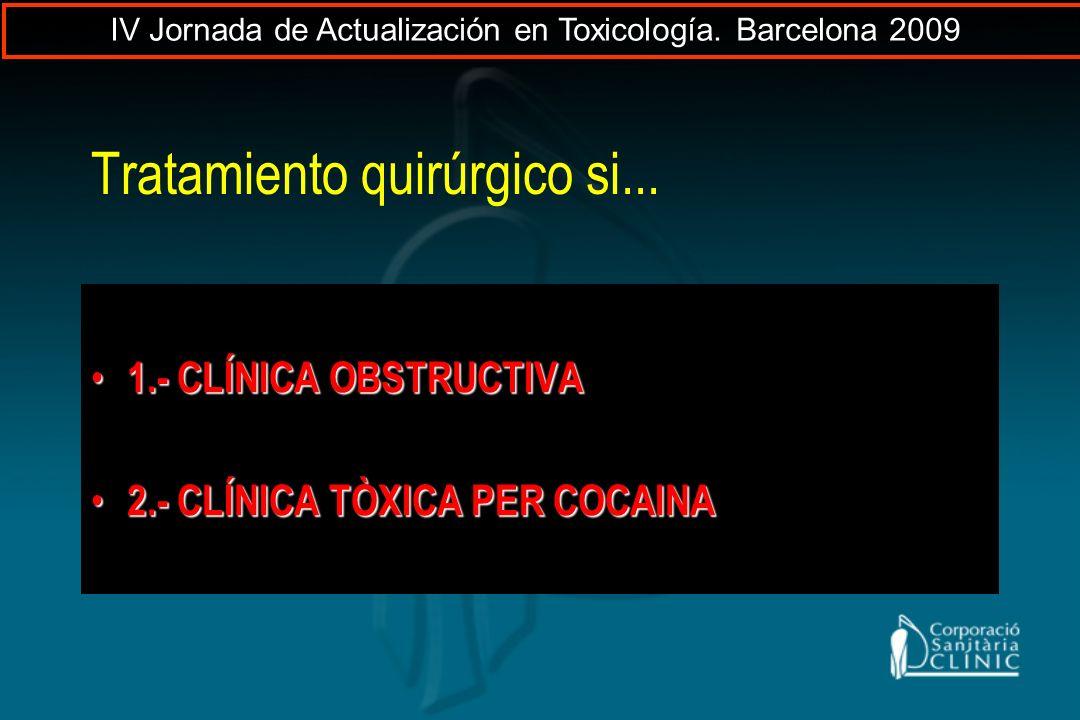 Tratamiento quirúrgico si... 1.- CLÍNICA OBSTRUCTIVA 1.- CLÍNICA OBSTRUCTIVA 2.- CLÍNICA TÒXICA PER COCAINA 2.- CLÍNICA TÒXICA PER COCAINA IV Jornada