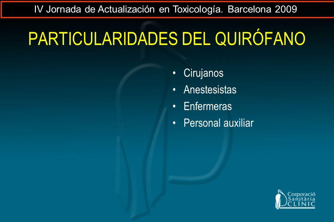 PARTICULARIDADES DEL QUIRÓFANO Cirujanos Anestesistas Enfermeras Personal auxiliar IV Jornada de Actualización en Toxicología. Barcelona 2009